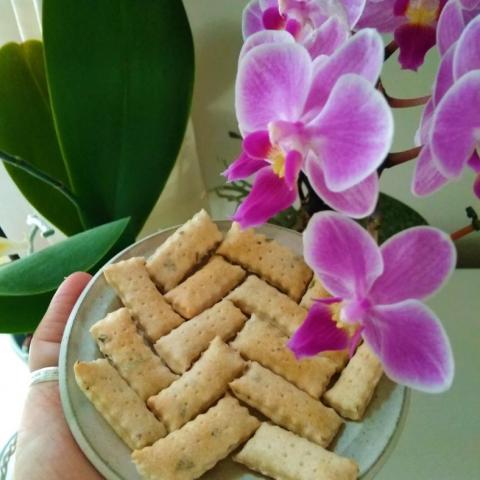Kváskové krekry s bylinkami podle přírodní zahrady a moje orchidej :)
